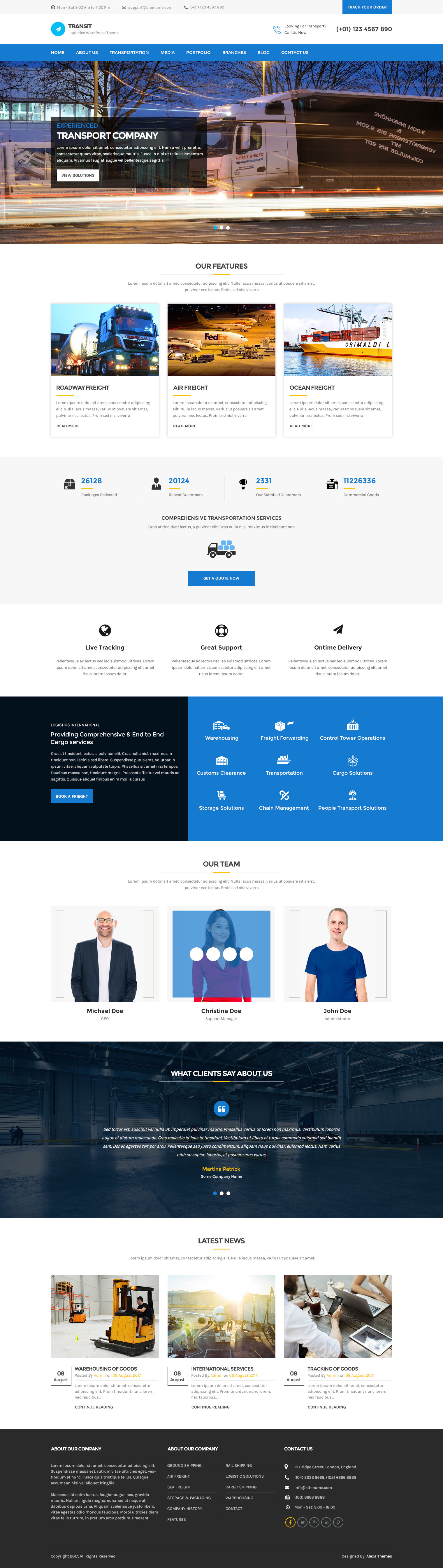 Transport WordPress Theme