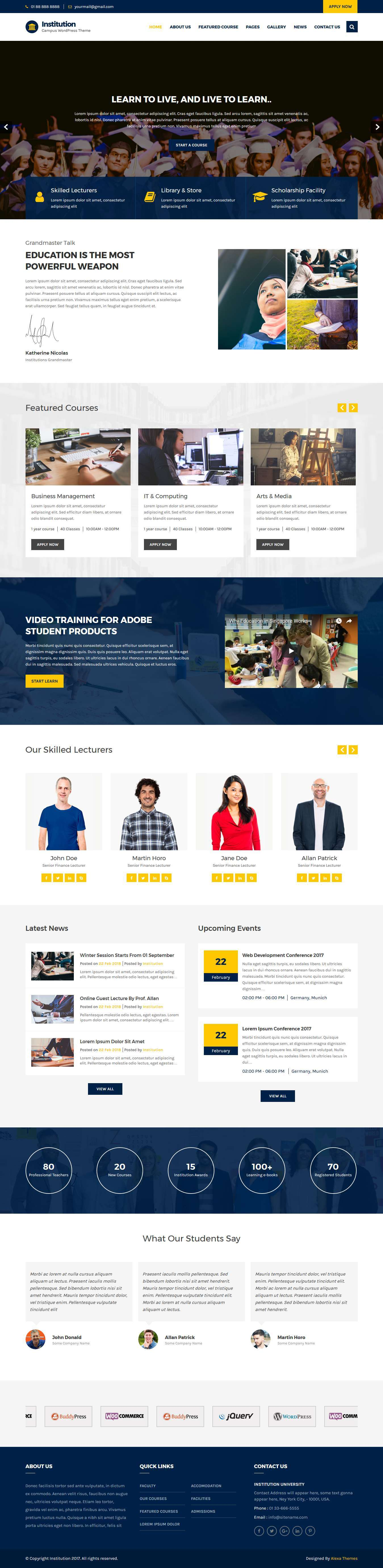 institution wordpress theme